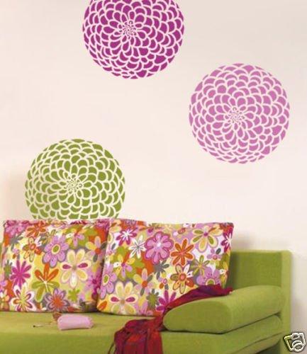 Flower Stencil Zinnia Grande Med, Reusable wall stencils not decals
