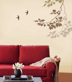 WALL STENCIL SYCAMORE REACHING BRANCH+Bird STURDY 12MIL