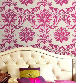 Damask Stencil Gabrielle, DIY Reusable stencils for wall, fabric deco