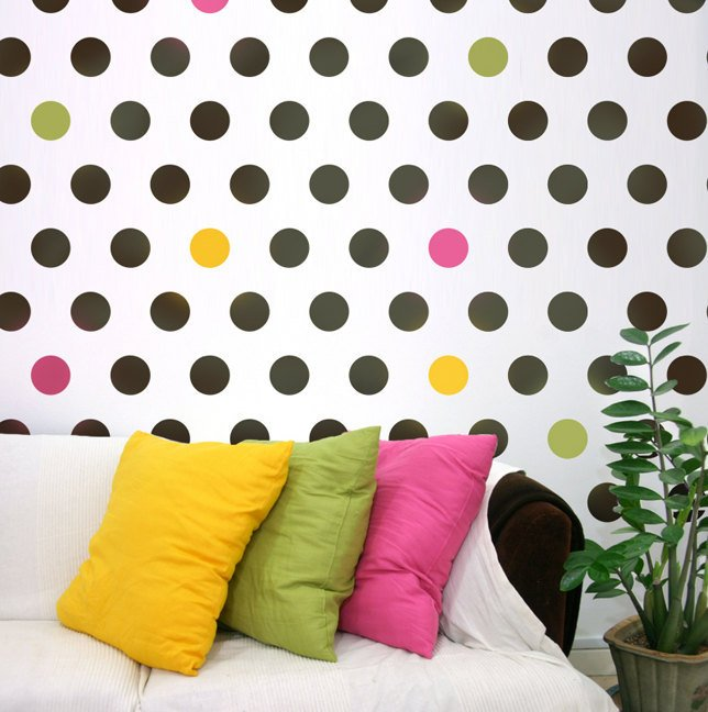 Polka Dot Wall Decals For Kids Rooms : Wall stencil Polka Dot Allover LG, DIY decor for Nurseries, Kids Rooms