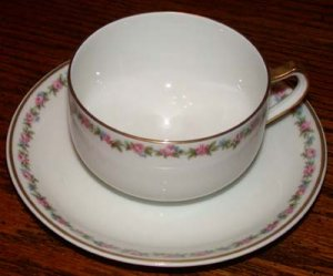Haviland France Cup and Saucer Pink and Blue Flowers Gold Trim