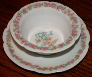 Vintage French PorcelainRamikins with Underplates Roses