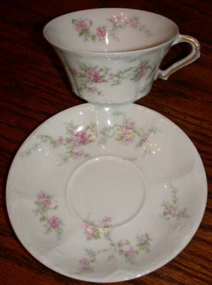 Theodore Haviland France Pink Flowers Saucer and Cup