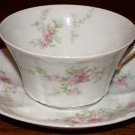Theodore Haviland France Pink Flowers Cup and Saucer