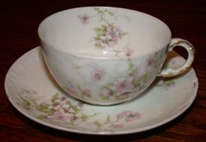 Theodore Haviland Pink Flower Cup and Saucer