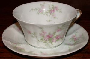 Theodore Haviland Pink Flowers Cup and Saucer Early 1900's