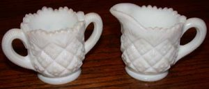 Miniature  Milk Glass Sugar and Creamer