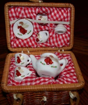 Miniature Angel Tea Set in Picnic Basket