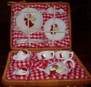 Miniature Angel  Tea Set in Picnic Basket