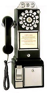 1950'S Style 3 COIN SLOT Black Payphone Pay Telephone Pay Phone RARE
