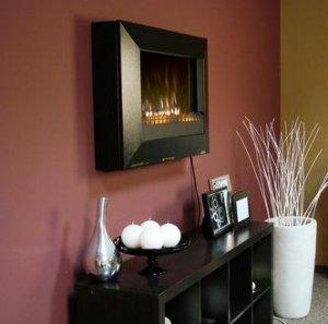 Fire Sense Black Wall Mounted Electric Fireplace Add