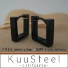 Mens Earrings Black Hoop Huggie - Square Earrings For Men  Square (#211)