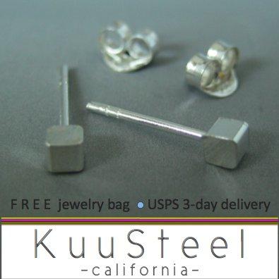 Silver cube stud earrings for men, 465