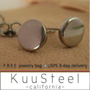 Silver Stud Earrings for Men-Looks Like Plug Earrings-Stainless Steel - 7mm Disc Design (#420)