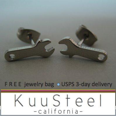 Mens Earrings Stud Silver Huggie - Wrench Steel Jewelry For Men � Wrench (#415)