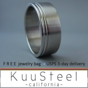 Plain Wedding Ring - Double Lines on Edge - Stainless Steel Plain Wedding Band #340