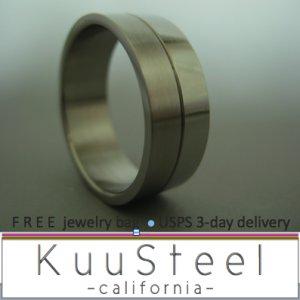 Plain Wedding Ring - Half Half - Stainless Steel Plain Wedding Band (#320)