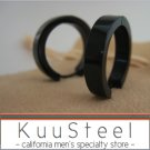 XL Mens Earrings Black Hoop Huggie - Stainless Steel Silver For Men – (#194)