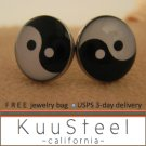 Mens Earrings Black & White Stud Earrings  Steel Silver for guys- YinYang (#504)