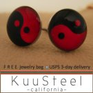 Mens Earrings Black & Red Stud Earrings  Steel Silver for guys- YinYang (#505)