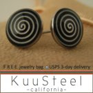 Mens Earrings Black & White Stud Earrings – Steel Silver for guys- Motion (#500)
