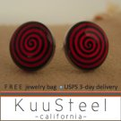 Mens Earrings Black & Red Stud Earrings – Steel Silver for guys- Motion (#501)