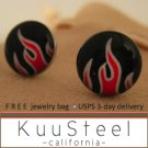 Mens Earrings Black & Red Stud Earrings – Steel Silver for guys- Hot Object (#507)