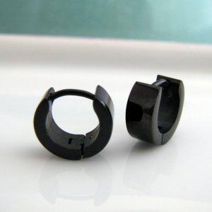 Mens Earrings Extra Small Hoop Black Huggie - Steel Earrings For Men � Small EC112