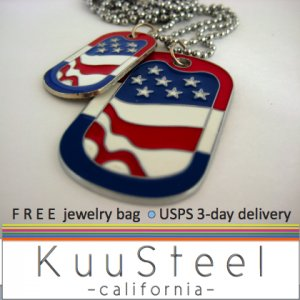 Mens Necklace Silver Chain - Pendant Necklace Jewelry for men - USA Flag (no.603 or no.604)