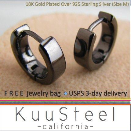 Men's black gold plated hoop earrings, ECE150SB