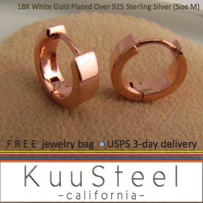 Sterling Silver Hoop Earrings-18K Rose Gold Plated-Mens Earrings Hoop-Medium (#E150SR)