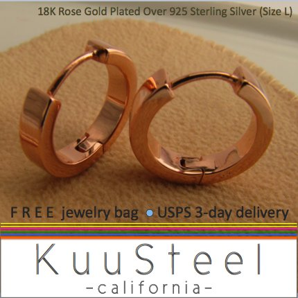 Rose gold hoop earrings for guys, mens hoop earrings, large hoop earrings, ECE190SR