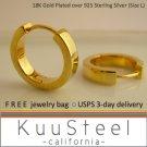 Sterling silver hoop men's earrings, 24K gold plated, ECE190SY