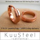Sterling Silver Hoop Earrings-18K Rose Gold Plated-Mens Earrings Hoop-HalfHalf Large (#195G)