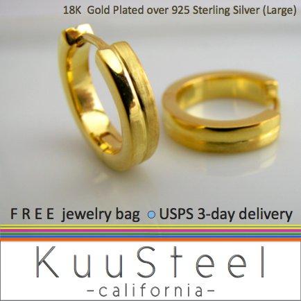 Sterling Silver Hoop Earrings-18K Gold Plated-Mens Earrings Hoop-HalfHalf Large (#E191MY)