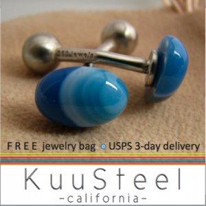 60% OFF - Sterling Silver Jewelry Blue Cufflinks � For Men Women Groomsmen (#737A)