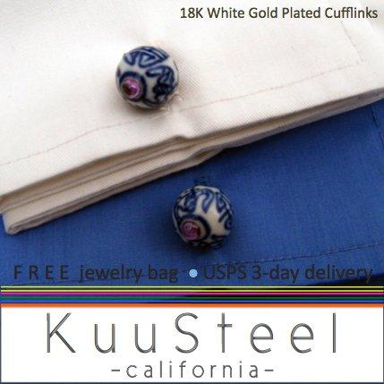 Sterling Silver Jewelry Oriental Blue with Amethyst Cufflinks � For Men Women Groomsmen (#732)