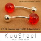 Men's cufflinks, red glass sphere cufflinks, sterling silver cufflinks, 735A