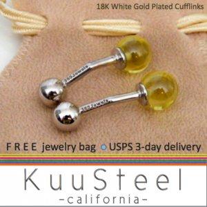 Men's cufflinks, light green glass sphere, sterling silver cufflinks, 735B