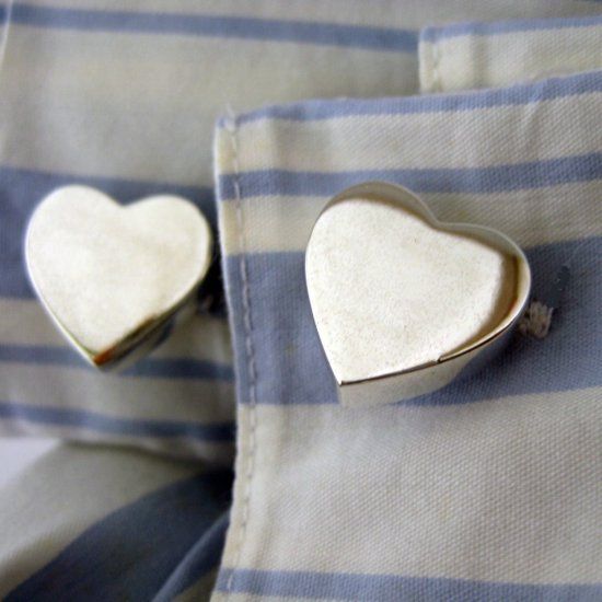 Sterling silver heart shaped cufflinks, 730B