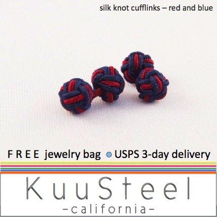 Celtic Silk Knot Cufflinks Red & Blue � For Men Women Groomsmen (#721C)