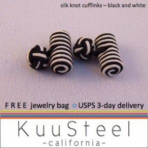 Celtic Silk Knot Cufflinks Black & White � For Men Women Groomsmen (#721D)