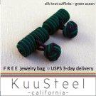 Celtic Silk Knot Cufflinks Blue & Green – For Men Women Groomsmen (#721D)