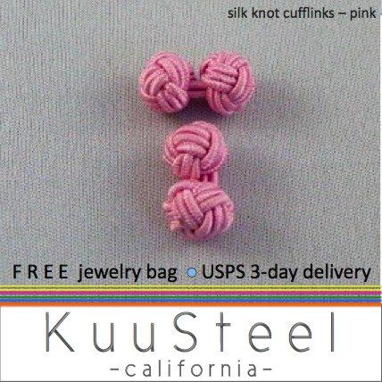 SIlk knot cufflinks, pink cufflinks, 721F
