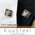 Promotio - Blue Silver Cufflinks  For Men Women Groomsmen (#722A)
