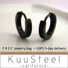 Mens Earrings Black Hoop Slim - Earrings For Men – Discreet  (#133)
