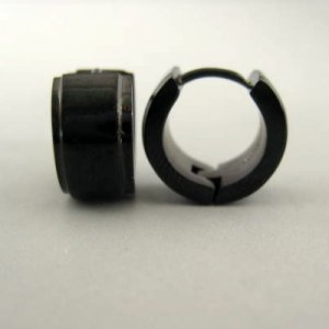 Etched hoop earrings for guys, black stainless steel earrings for men, mens earrings, EC175