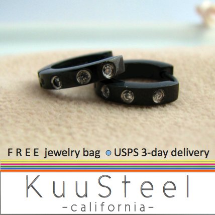 Mens Earrings Black Hoop 3 Diamonds - Earrings For Men � Discreet 3 CZs (#132)