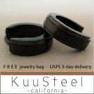 Mens Earrings Black Hoop Huggie – Stainless Steel Earrings For Men – Medium with Edgeline (#154)