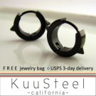 Mens Earrings Black Hoop Huggie Men - Cool Stainless Steel For Guys  Medium with Thorns (#152)